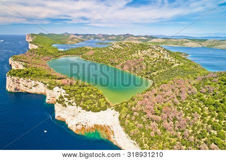 Telascica Nature Park Cliffs And Green Mir Lake On Dugi Otok Island Aerial View, Kornati Archipelago