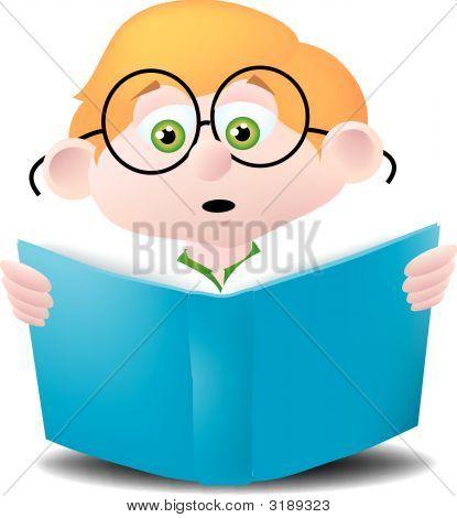Kid Engrossed In Book