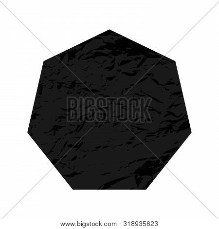 Scratched Heptagon. Dark Figure With Distressed Grunge Texture Isolated On White Background. Vector