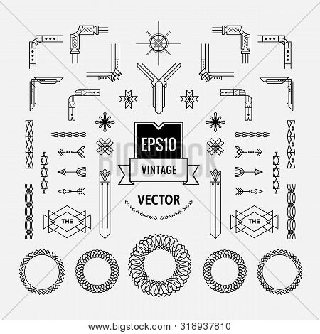 Set Of Vintage Linear Thin Line Art Deco Retro Geometric Shape Design Elements With Frame Corner Bad