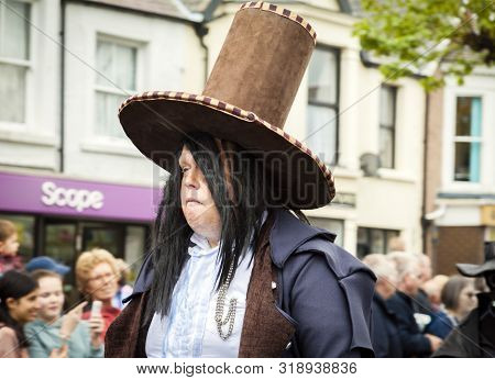 Llandudno, North Wales- 29th April 2017: Large Man In Fancy Dress Costume, With Fangs And Brown Top