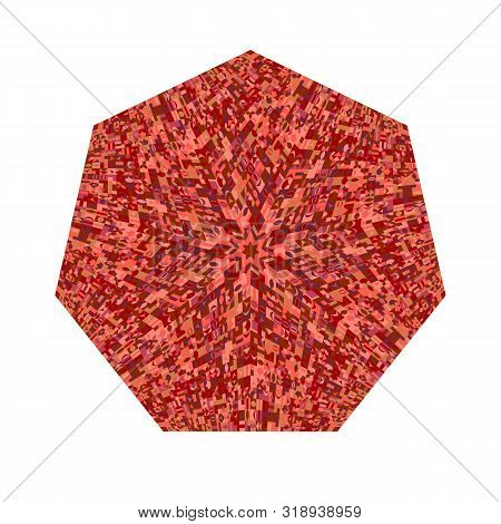 Abstract Colorful Tiled Mosaic Heptagon Symbol - Ornamental Geometrical Heptagonal Vector Element Fr