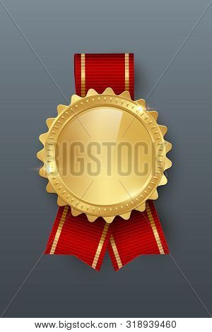Award Golden Blank Medal With Ribbon 3d Realistic Illustration. First Place Medal With Red Ribbon. Q