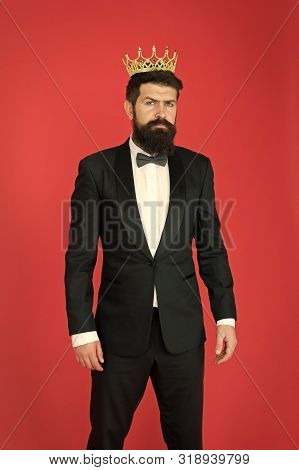 Egoist. Businessman In Tailored Tuxedo And Crown. Bearded Man Egoist In Tuxedo And Bow Tie. Big Boss