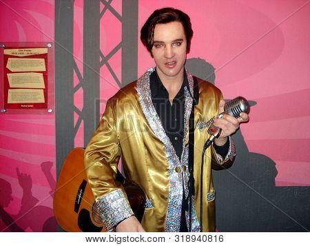 Amsterdam, Netherlands - August 15, 2010: Madame Tussauds Wax Museum: Elvis Presley