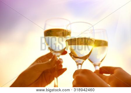 People holding Glass of Wine, Making a toast over Sunset sky. Birthday. Group of Friends drinking White Wine, toasting. Clink. Party outdoors. Enjoying time together. Holidays, vacation, celebrating