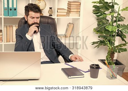 Office Routine. Manager Solving Business Problems. Businessman In Charge Of Business Solutions. Deve