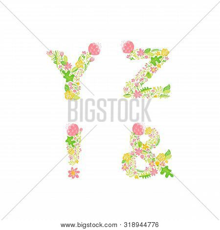 Vector Hand Drawn Floral Uppercase Letter Monograms Or Logo. Uppercase Letters Y, Z, With Flowers An