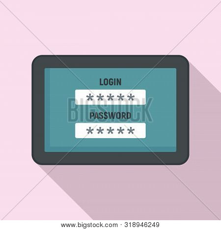 Web Bank Login Icon. Flat Illustration Of Web Bank Login Vector Icon For Web Design