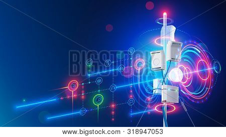 5g Mobile Internet Communication Tower Of Cellular Network. Wireless Broadband Antenna Transmissions