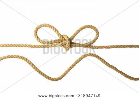 Rope Isolated. Closeup Of Figure Node Or Knot From Two Brown Ropes Isolated On A White Background. N