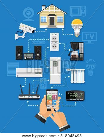 Smart House And Internet Of Things Concept With Flat Icons. Man Holding Smartphone In Hand And Contr