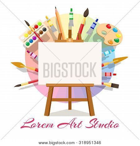 Painting Workshop Elements. Artistic Oil Painting Image And Masterpiece Art Materials, Vector Easel