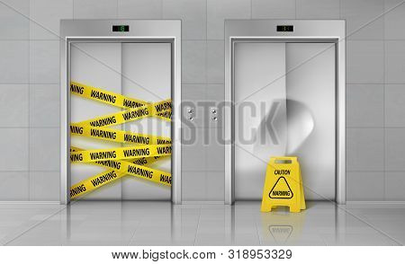 Broken Elevators Closed For Repair Or Maintenance 3d Realistic Vector Concept. Caution Sign Standing