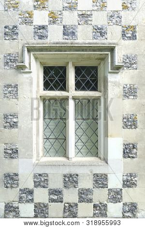 Vintage Leaded Window With Glass Panes, Leadlight With Checkerboard Pattern