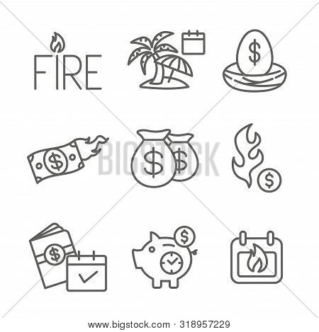 Retirement Savings Icon Set W Money Bags, Nest Egg, Calendar And More