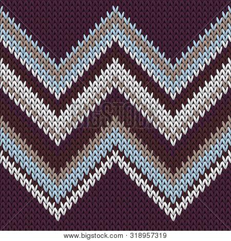 Macro Zig Zal Lines Knitting Texture Geometric Vector Seamless. Rug Knitwear Fabric Print. Norwegian