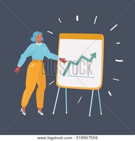 Cartoon Vector Illustration Of Woman Giving Presentation Or Lecture On Flipchart On Dark Background.
