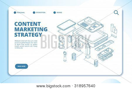 Content Marketing. Website, Social Network Publishing, Video Blog Content Strategy. Digital 3d Isome