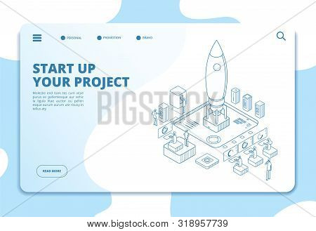 Startup Landing Page. Successful Project Launch. Isometric Rocket, People At Dashboard. Corporate Ic