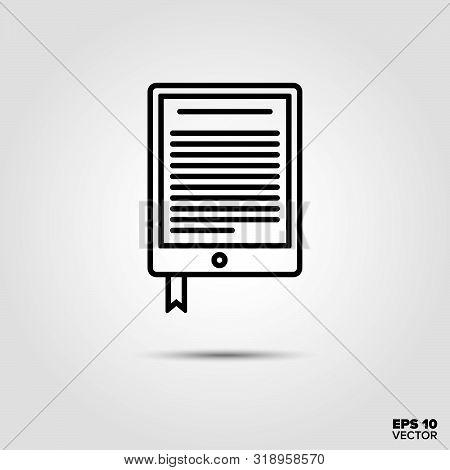 E-book Reader Line Icon Vector Illustration. Media And Entertainment Symbol.
