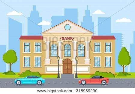 Bank Building. Government House, Financial Office Exterior With Columns On Street In Cityscape. Bank