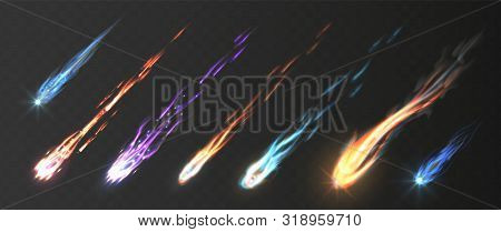 Comets And Meteorite Set. Vector Realistic Meteors And Fireballs With Fire Trails. Meteor Rain Vecto