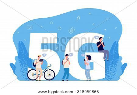 5g Internet Concept. Flat People Characters, Online Conversations, Internet Friend Searching. 5g Net