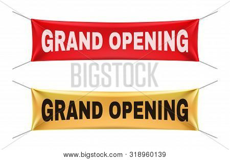 Grand Opening Banners. Vector Gold Red Realistic Hanging Fabric Mockup Set. Announcement For Busines