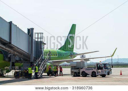 Saratov, Russia - August 20, 2019: Boarding S7 At Gagarin International Airport