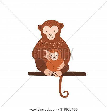 Monkey With Baby Sitting On Tree Branch Isolated On White Background. Family Of Wild Exotic Jungle A