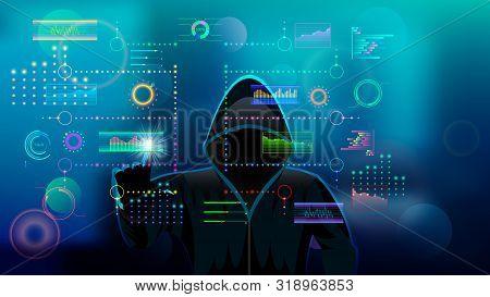Hacker, Hooded Man In Black Hood. Holographic Hud Ui For Business App. Futuristic User Interface Set