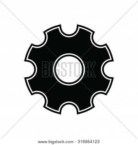 Gear Icon Isolated Black On White Background, Gear Icon Vector Flat Modern, Gear Icon, Gear Icon Eps