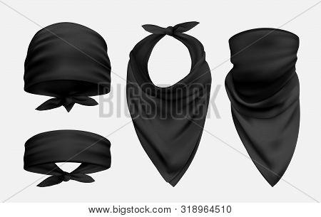 Black Bandana Realistic Illustrations Set Isolated On White Background