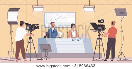 Smiling Male And Female News Presenters Or Newscasts And Cameramen Or Videographers With Cameras At