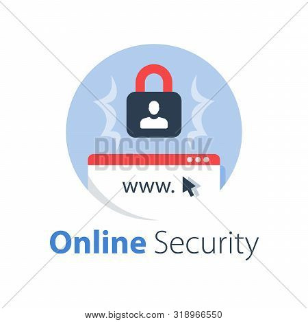 Online Security, Safe Internet Access, Antivirus Software, Data Protection, Web Technology, Vector F