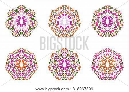 Colorful Ornate Geometrical Petal Heptagon Polygon Set - Abstract Ornamental Geometric Vector Graphi