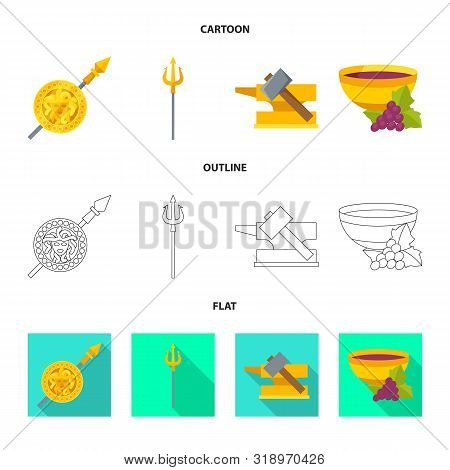 Vector Illustration Of Deity And Antique Symbol. Collection Of Deity And Myths Stock Vector Illustra