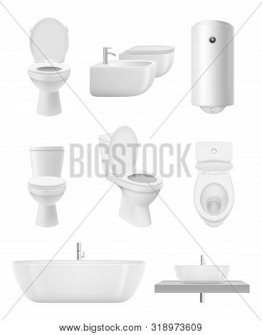 Bathroom Objects. Toilet Sink Shower Washroom Vector Realistic Collection. Toilet And Washroom, Hygi