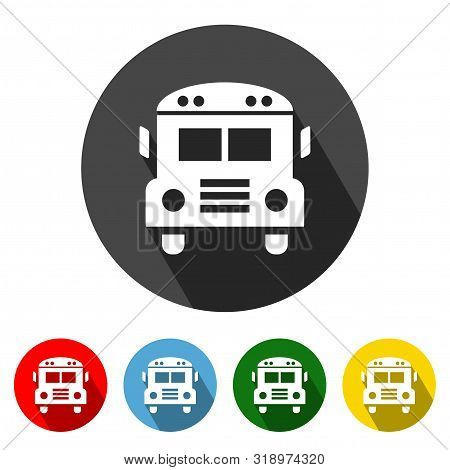 School Bus Icon Vector Bus Illustration Design Element With Four Color Variations. School Bus Icon W