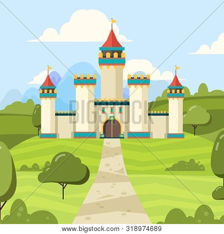 Fairy Tale Background With Castle. Majestic Building Palace With Towers Vector Medieval Castle On Gr