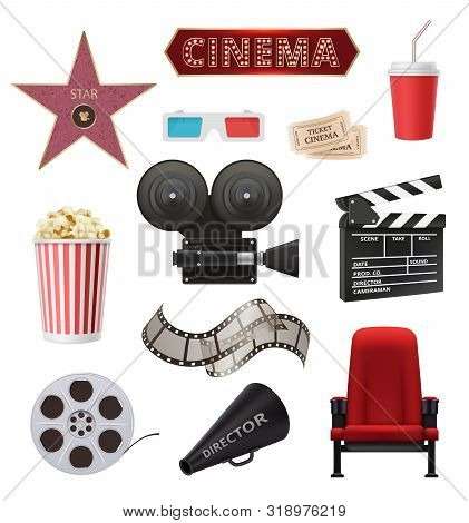 Movie Realistic. Cinema Objects Camera Camcorder Film Tape Clapperboard Vector Collection. Movie Cin