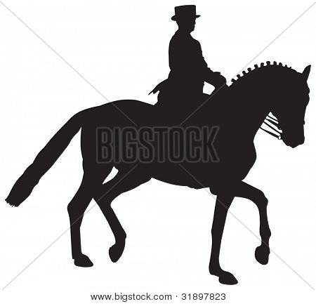 Vector Silhouette of a Dressage Horse in a Collected Trot