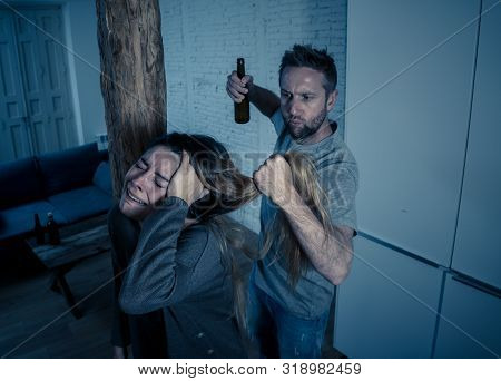 Abuser Husband Intimidating And Beating His Wife Illustrating Domestic Violence