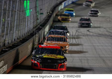 August 17, 2019 - Bristol, Tennessee, USA: Daniel Hemric (8) battles for position down the front stretch for the Bass Pro Shops NRA Night Race at Bristol Motor Speedway in Bristol, Tennessee.