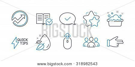 Set Of Business Icons, Such As Star, Quickstart Guide, Group, Approved Message, Hand Washing, Water