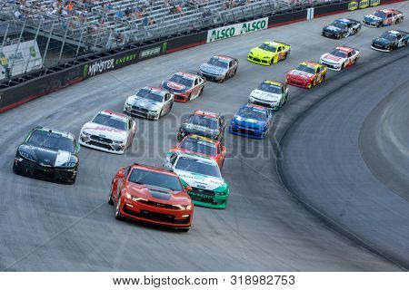 August 16, 2019 - Bristol, Tennessee, USA: Kyle Busch (18) and Austin Cindric (22) takes to the track for the Food City 300 at Bristol Motor Speedway in Bristol, Tennessee.
