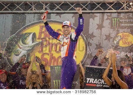 August 17, 2019 - Bristol, Tennessee, USA: Denny Hamlin (11) wins the Bass Pro Shops NRA Night Race at Bristol Motor Speedway in Bristol, Tennessee.