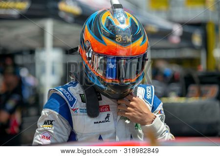 August 16, 2019 - Bristol, Tennessee, USA: Darrell Wallace, Jr (43) takes to the track to practice for the Bass Pro Shops NRA Night Race at Bristol Motor Speedway in Bristol, Tennessee.