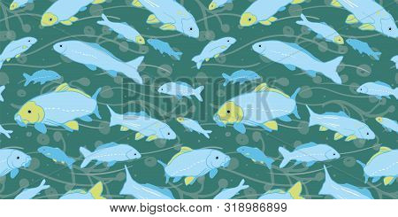 Wavy Sealife Goldfish Koi Seamless Pattern. With Seaweed, Wave And Fish In Tones Of Blue And Green.